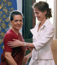 Syrian President's wife Asma with UPA Chairperson Sonia Gandhi